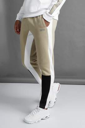 boohoo MAN Skinny Fit Colour Block Joggers