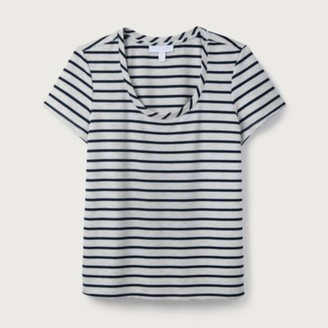 The White Company Stripe Scoop Jersey T-Shirt, Grey Stripe, 6
