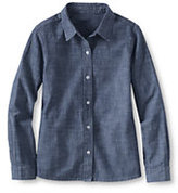 Classic Little Girls' Woven Long Sleeve Chambray Blouse-Light Indigo Blue