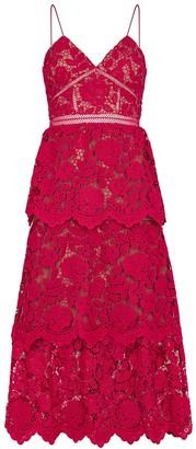Self-Portrait Red Floral Guipure Lace Midi Dress