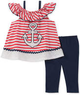 Kids Headquarters 2-Pc. Striped Anchor Tunic & Leggings Set, Little Girls