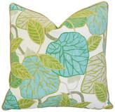 One Kings Lane Vintage Atrium Conservatory Foliage Pillow - green/white/teal/tan/gold/multi