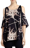 Halston Printed Shoulder Tie Top