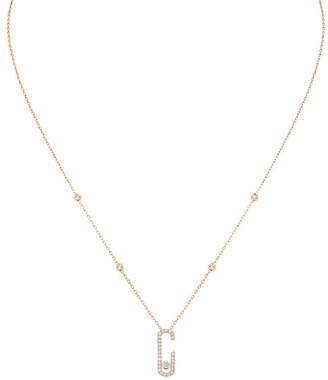 Messika By Gigi Hadid Move Addiction 18K Rose Gold & Diamond Pave Pendant Necklace