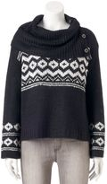 Juniors' Pink Republic Button Cowlneck Sweater