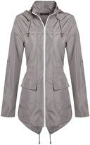 Chaos Theory Women's Plain Mac Jacket Fishtail Hooded Showerproof Parka Raincoat - US 16