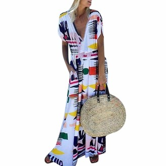 Pochers Dresses for Wedding Guest Women Plus Size Vintage Summer Casual Fashion Women's Sexy Boho Holiday Short Sleeve V-Neck Printed Long Maxi Party Beach Dress Sundress(White XL)