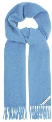 Acne Studios Holmes Logo-label Brushed Wool-twill Scarf - Mens - Blue