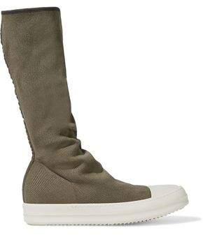 Rick Owens Rubber-paneled Ribbed-knit Sock Boots