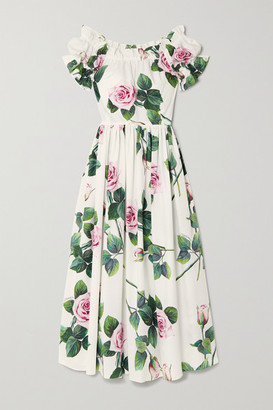 Dolce & Gabbana Ruffled Floral-print Cotton-poplin Midi Dress - White