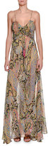 Etro Fleur d'Oranger Sleeveless Printed Gown, Black/Multi