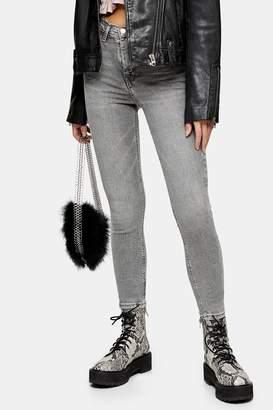 Topshop Womens Grey Raw Waistband Jamie Jeans - Grey