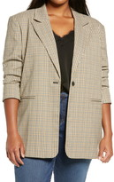 Treasure & Bond Plaid One-Button Blazer (Plus Size)