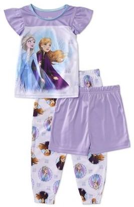 Disney Frozen Frozen Toddler Girls Loose Fit Ruffle Short Sleeve Pajamas, 3pc Set (2T-4T)