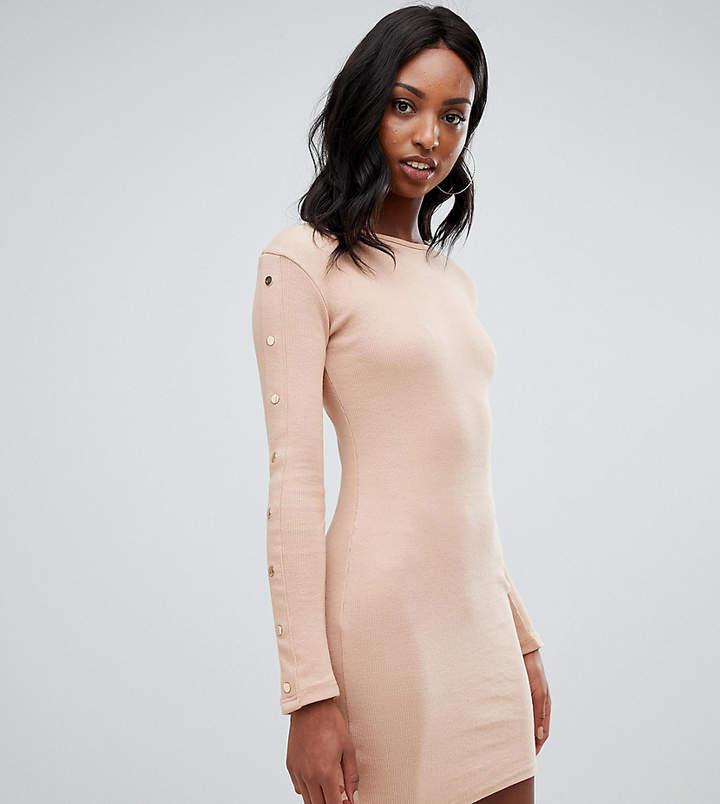 Missguided Tall popper sleeve mini dress in camel