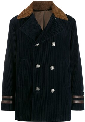 Brunello Cucinelli Double-Breasted Corduroy Peacoat