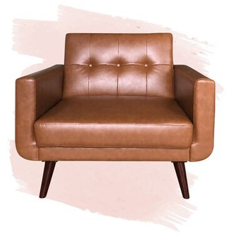 """Foundstone Adison 28"""" Armchair Upholstery Color: Camel Faux Leather"""