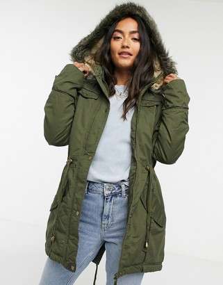 Brave Soul allure parka with faux fur hood