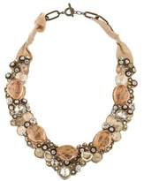 Ranjana Khan Rhinestone & Bead Collar Necklace in Neutral Tones