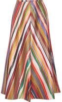 Rosie Assoulin Melted Rainbow Embroidered Poplin Midi Skirt - US0