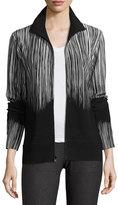Norma Kamali Printed Turtleneck Zip-Front Jacket, Fringe