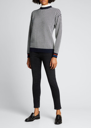 Kule The Lady Houndstooth Removable-Collar Sweater