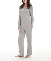 La Leche League International Dove Gray Lace-Trim Pajama Set - Plus Too