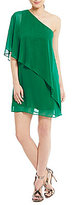 Vince Camuto One Shoulder Chiffon Sheath Dress