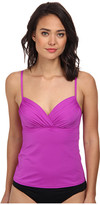 Badgley Mischka Solid Shirred Underwire Tankini Top