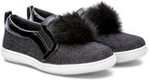 Rachel Black Faux Fur-Accent Jolene Sneaker