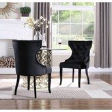 Everly Malcolm Tufted Velvet Upholstered Wingback Dining Chair Quinn Upholstery Color: Black
