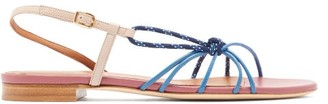 Malone Souliers Antwerp Knotted Leather Slingback Sandals - Womens - Pink Multi