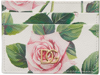 Dolce & Gabbana Off-White Floral Card Holder