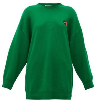 Balenciaga Logo-embroidered Cashmere Sweater - Green