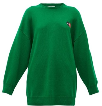 Balenciaga Logo-embroidered Cashmere Sweater - Womens - Green
