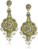 Miguel Ases Peridot Quartz and Swarovski Grand Dangle Earrings