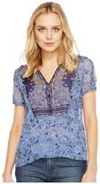 Lucky Brand Scarf Print Top Women's Short Sleeve Pullover