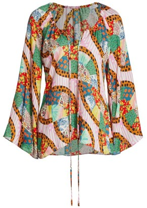 Rhode Resort Lita Bell-Sleeve Patchwork Blouse