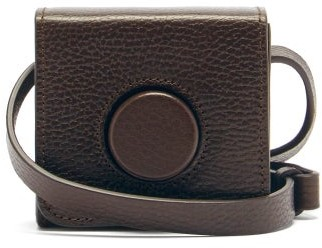 Lemaire Camera Mini Grained-leather Cross-body Bag - Dark Brown