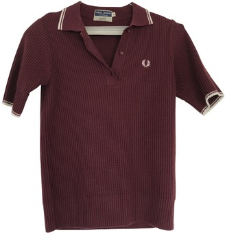 Fred Perry Burgundy Cotton Top for Women