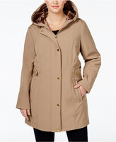 Via Spiga Plus Size Water-Repellent Hooded Raincoat