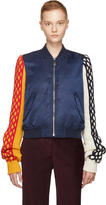J.W.Anderson Navy Cable Knit Sleeve Bomber Jacket