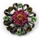 Avalaya Vintage Crystal Floral Brooch