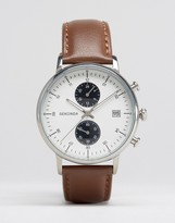 Sekonda Chronograph Leather Watch In Brown