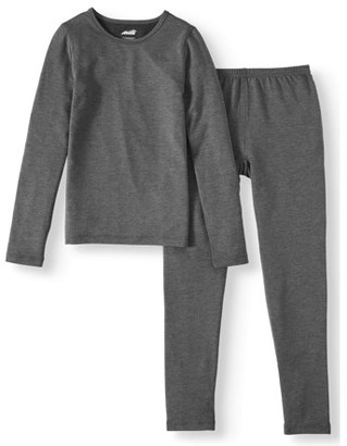 Avia Girls' Performance Super Soft French Terry Thermal Underwear, 2 Piece Set