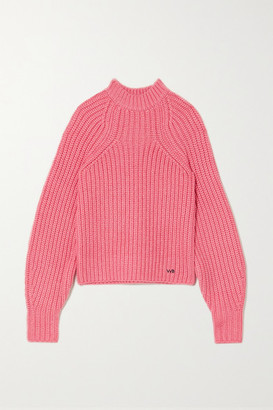 Victoria Victoria Beckham Embroidered Ribbed-knit Sweater - Pink
