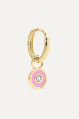 Alison Lou Huggy 14-karat Gold, Diamond And Enamel Earring