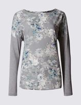 Marks and Spencer Hydrangea Print Long Sleeve Jersey Top