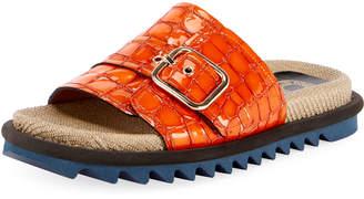 Dries Van Noten Shiny Crocodile-Print Flatform Slide Sandals