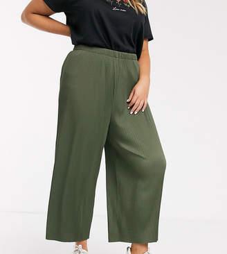 Asos DESIGN Curve plisse culotte trouser-Green